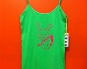 CUSTOM FOR KATTEH Death is Boring Reaper Bunny Lime Green Tank Top  Small