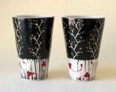 Custom Order for GreenEyedMan Pair of Porcelain Tumblers