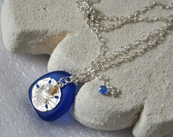 Sand Dollar Necklace, Cobalt Blue Sea Glass Necklace, Sterling Silver Necklace, Pendant Necklace, Nature Inspired, Sea World