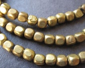 4mm Brass Cubes Solid Brass Beads - 14 1/2  inches - 4mm X 3mm