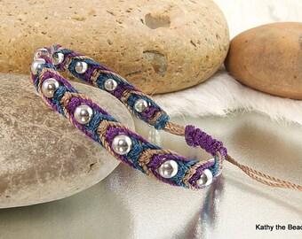 Macrame Bracelet - Multi Color with Sterling Silver Beads Bracelet - KTBL