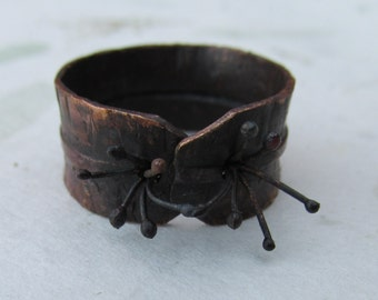 Organic Sculptured Fold Formed Copper Ring