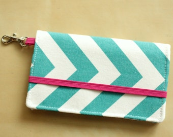 Ready to ship - Cell Phone Wallet - Chevron Print - Turquoise and Pink Chevron - Smart Phone - Iphone Wallet