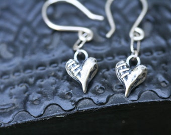 Sutured Heart Earrings Solid Sterling Silver Free Domestic Shipping