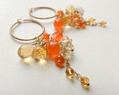 RESERVED - Andalusia Earrings with Carnelian and Citrine Gold Citrus Long Luxe Wire Wrapped Hoops Fall Fashion