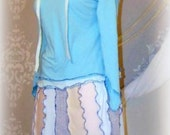 Elf Skirt Set, aqua, beige, gray, upcycled tee outfit, Katwise inspired, hood, exposed seams, wrap skirt,comfy