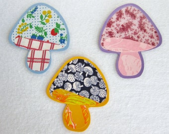 Mushroom Magnets, Fabric Magnets, Kitchen Magnets, Unique Magnets, Groovy Magnets, Sixties Decor