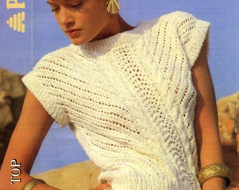 Vintage Ladies Lace Stitch Top, Knitting Pattern, 1960 (PDF) Pattern, Patons 8246