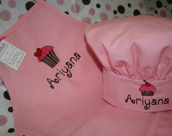 Strawberry Frosting- Youth Cupcake Apron and Chef Hat--Custom Embroidered--2 youth sizes available