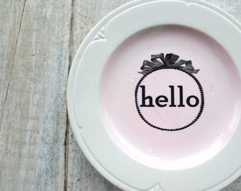 Hello Sign // Pink Modern Shabby Chic Welcome Sign //  Farmhouse Wall Decor // Vintage Sign //  Cottage Chic // Modern Word
