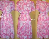 Bubblegum Pink and White Floral Dress by California Looks Vintage 1980s Size 14 Petite