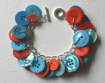 Button Charm Bracelet Tangerine Orange and Aqua Blue