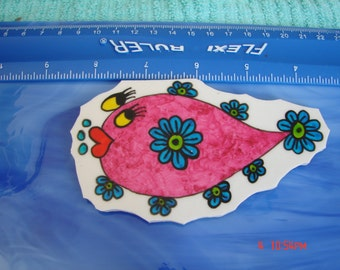 Mosaic Tiles Pink DOODLE FISH Hand painted China Mosaic Tile