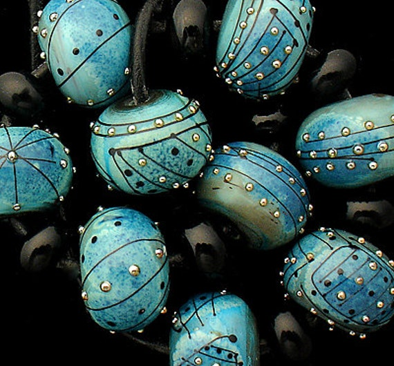 DSG Beads Handmade Organic Lampwork Glass - Made To Order (Blue Moon)
