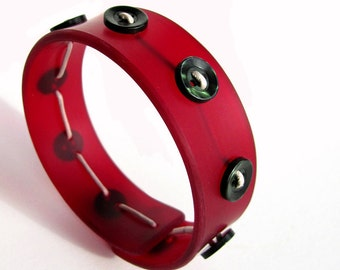 Button Bangle Bracelet, Modern Plexi Jewelry, Ruby Red, Forest Green, Vintage Buttons