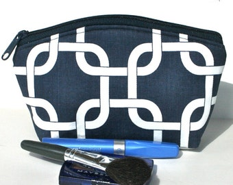 Sale - Makeup Bag - Zippered Pouch - Padded - Flat Bottom - Round Top - Navy - Geometric - Ready to Ship