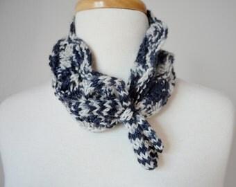 Dapple Grey Lace Kitten Headwrap / Headband / Earwarmer / Collar / Cowl - Hand Knit in Luxe Silk & Wool Blend Yarn - Charcoal and Light Grey