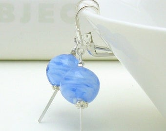 Blue Dangle Modern Earrings, Mod Murano Glass Drop Leverback Earrings, Simple Denim Blue for Girlfriend under 50