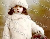 Instant Download Miss December Fur Baby Winter TODDLER Antique Portrait Postcard DIGITAL Scan