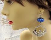 Midnight blue Spanish Dancer chandelier earrings Bohemian Jewelry