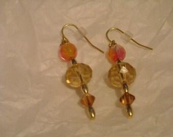 orange and amber dangle earrings