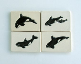 Ceramic Tiles, Handmade Hand Painted , Set of Four,  Orcas