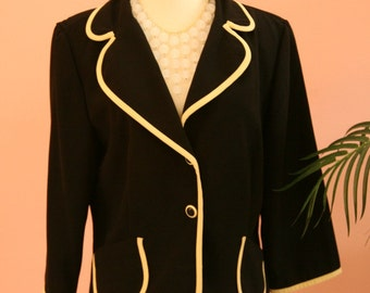 Black Blazer, Black and Yellow Jacket, Dressy Blazer, Ladies Size 12 Black Blazer, Yellow Piping