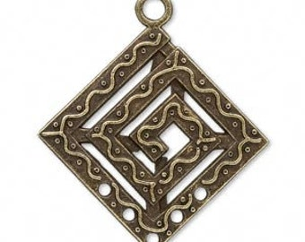 Antiqued Brass Plated Pewter Drop with 5 Holes Qty 10