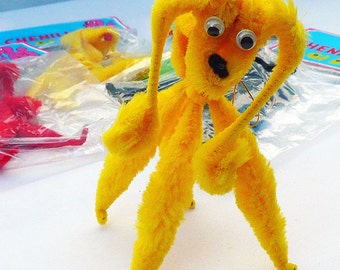 Two Retro 1970's Vintage chenille pipe cleaner dogs in bright colors