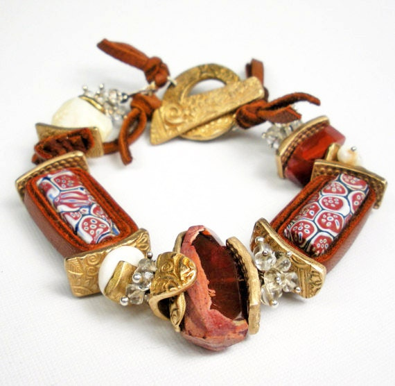 RESERVED  FOR Roberta Venetian Trade Bead and Gemstone Bracelet, Antique Beads, Bronze PMC, Mexican Fire Opal, and Beryl - Trans Continental