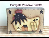 Primitive Chicken Wood Shelf Sitter Wood Block Saltbox House Willow Tree Handpainted Home Decor