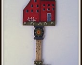 Primitive Saltbox House Key Wood Handpainted Home Decor Red