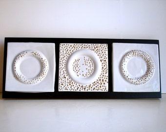 Contemporary Porcelain Wall Sculpture / Tile  - Golden Morning