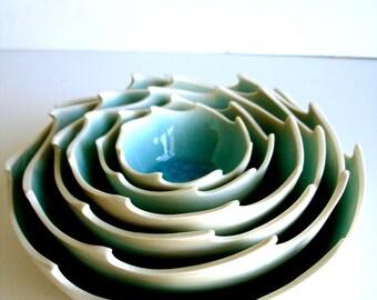 Ocean Waves Aqua In White Porcelain Nesting Bowls Set - Made To Order