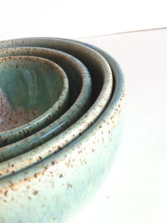 Handmade Wheel Thrown Stoneware Nested Bowls Set- Made To Order