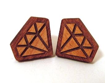 Engraved Diamond Earrings - Post Stud Earrings