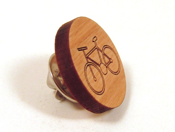 Bicycle Wooden Tie Tack Lapel Pin