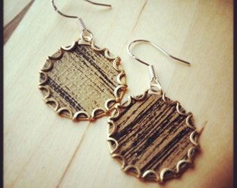 WOODGRAIN faux bois Tea Tin Floral Earrings