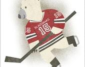 Hockey Bear - 8x10 Print