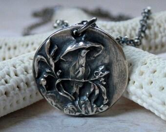 Silver Bird Necklace Victorian Bird with Umbrella Button Charm Pendant in Oxidized Fine Silver