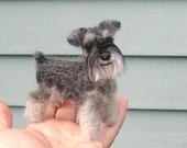 Felted Miniature of your Dog / Custom Pet Portrait  / Cute / Handmade Poseable Art Sculpture Personalized gift / example Miniature Schnauzer