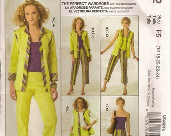 McCalls 5432, Sewing Pattern, Misses Vest, Jacket, Top, Pants, Womens Clothing, Wardrobe, Sizes 16 18 20 22 24,Sewing Supplies,Uncut Pattern