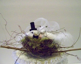 Wedding Cake Topper-Birds and Twig Nest- Bride and Grooms' Cake