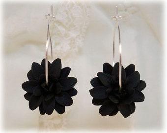 Dahlia Hoop Earrings - Flower Hoop Earrings, Dahlia Jewelry