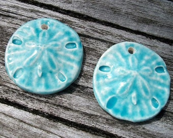 Shiny Baby Blue Ceramic Sand Dollar Charms, Pendants or Earring Pair