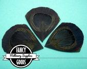 3 - Cut - Black - Peacock Feather - Eyes -Petals - Millinery -Fascinators