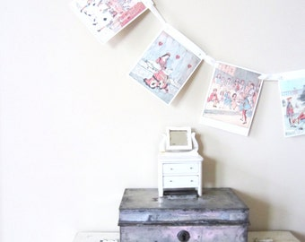 Valentine Garland, Vintage Paper Storybook Garland, Queen of Hearts Banner, Bunting, Valentine's Day Decor