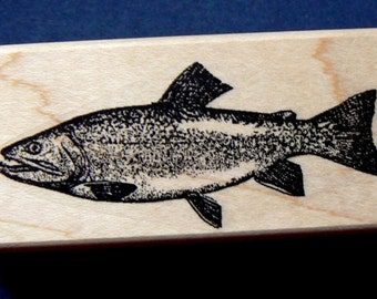 P28 Trout fish rubber stamp