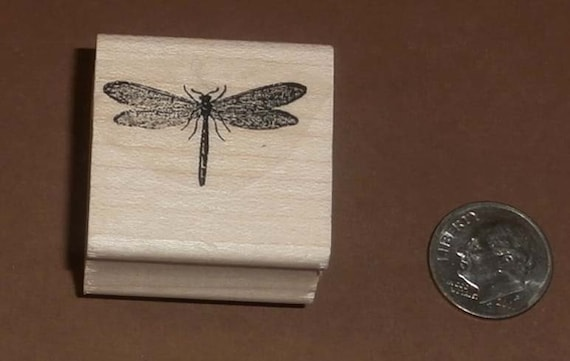 P11 Dragonfly Mini Rubber Stamp 1 inch x0.5 inches WM