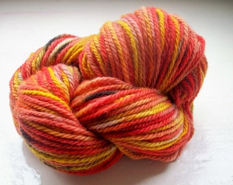 Hand painted yarn 50g wool flame colours red yellow orange